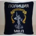 Подушка с вышитой эмблемой Центрального аппарата МВД России